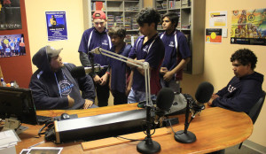 Dre talking to boys in studio
